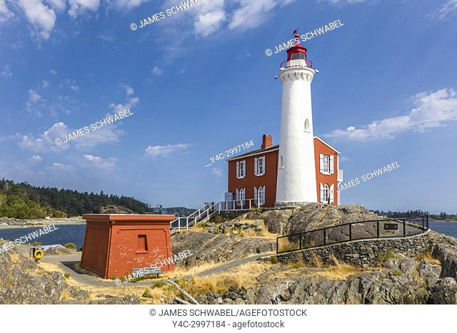 Fisgard Lighthouse National Historic Site, on Fisgard Island at the mouth of Esquimalt Harbour in Colwood, British Columbia, Canada