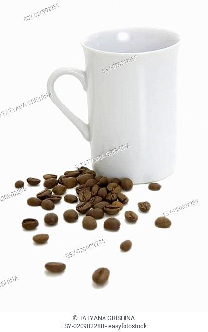 Cup and coffee grains
