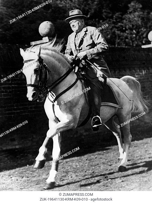 Nov. 30, 1964 - Westerham, Kent, U.K. - SIR WINSTON CHURCHILL wanted to celebrate his 90th birthday riding horses so he wrote 'It is Better to give one's son a...