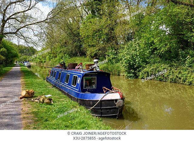 Barges on the Kennet and Avon Canal between Bradford and Avon and Bath in Wiltshire, England