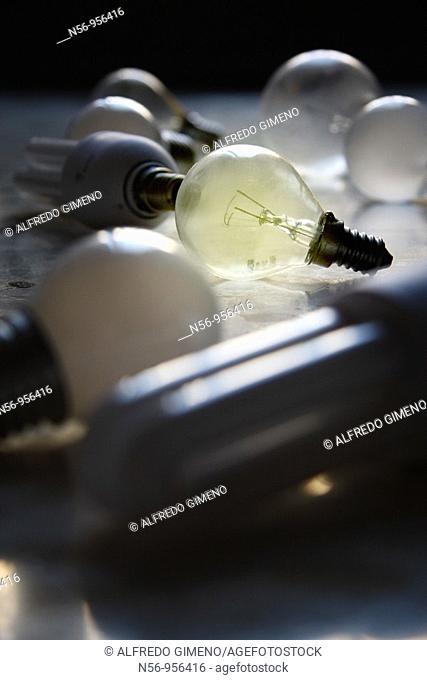 Assortment of electric light bulbs