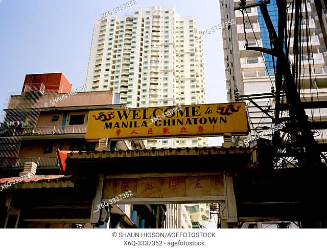 Chinatown sign in Manila in Luzon Metro Manila in the Philippines in Southeast Asia Far East