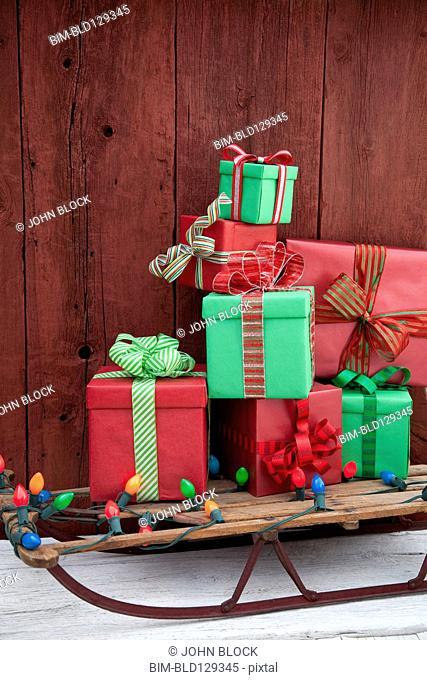 Christmas gifts and lights on sled