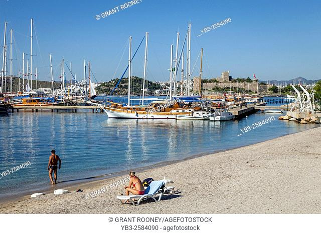 A Beach In The Coastal Resort of Bodrum, Mugla Province, Turkey
