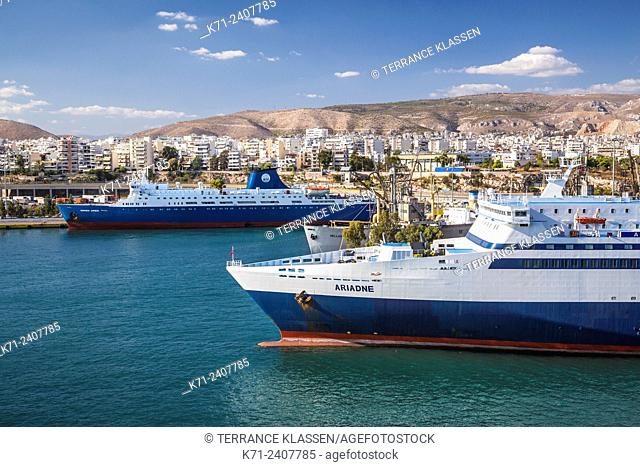 Ships in the port of Piraeus, near Athens, Greece, Europe