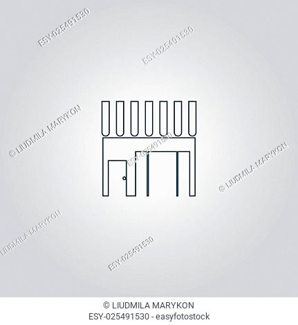 Store shop. Flat web icon or sign isolated on grey background. Collection modern trend concept design style vector illustration symbol
