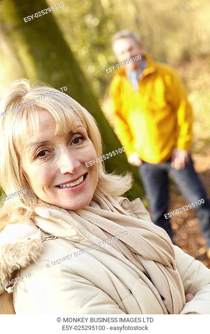 Senior couple outdoors in winter
