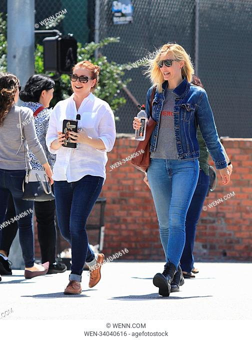 Leslie Bibb and Alyson Hannigan go out together in Brentwood Featuring: Leslie Bibb, Alyson Hannigan Where: Los Angeles, California