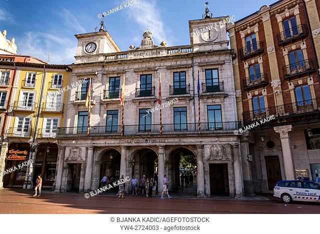 Town Hall situated in the 18th century Casa Consitorail in the Central square or Plaza Mayor, Burgos, Castile and Leon, Spain