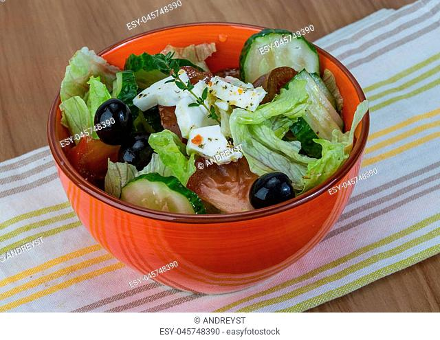 Greek salad with feta cheese and spices