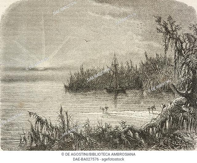 Boat anchored at the entry to Pablo cove, Florida, United States of America, drawing by Alphonse de Neuville (1835-1885) from a sketch by Poussielgue