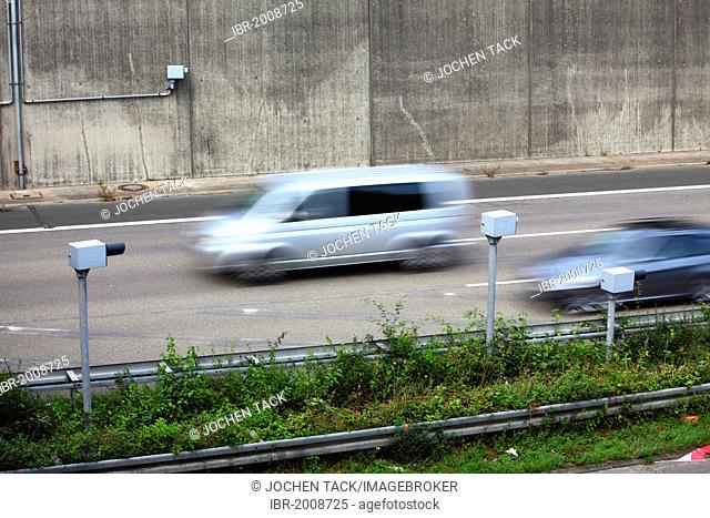 Radar controlled speed monitoring with speed cameras, on the Autobahn A44 motorway, in a 100 kilometers per hour speed-limit zone, Duesseldorf