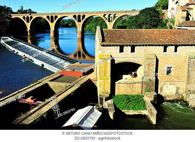 The Pont 22 Août 1944 -1944 August 22 Bridge- and an old mill over the river Tarn. Albi city, Tarn department, Occitanie region, France