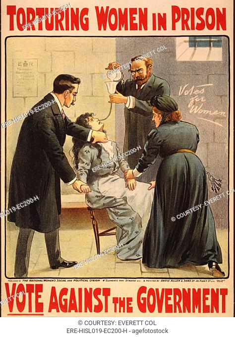 National Women's Social and Political Union poster of British suffragist hunger strikers being force fed in prison. Cal 1910