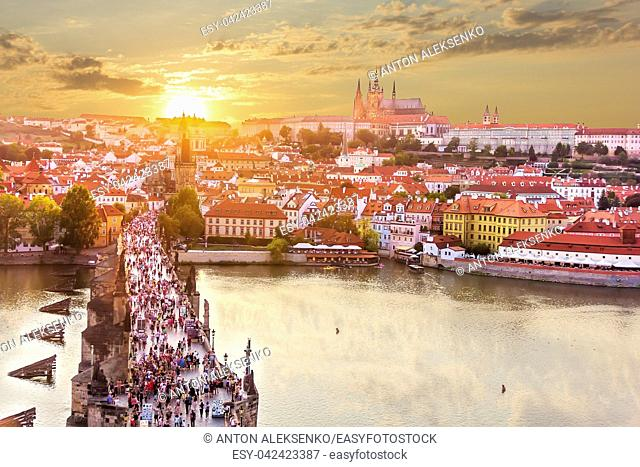 Charles Bridge and Lesser Town of Prague, view from Old Town Bridge Tower at sunset