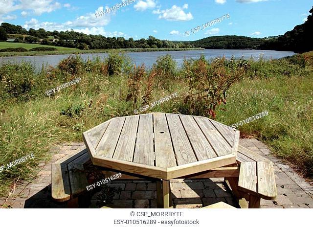 picnic bench scene