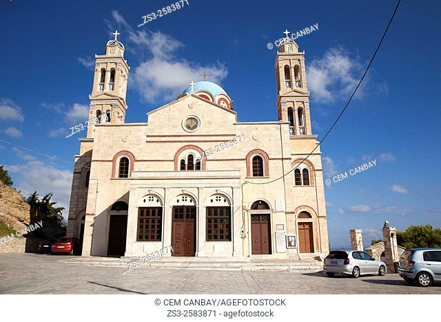 View to the Anastasis church in Vrodado, Syros, Cyclades Islands, Greek Islands, Greece, Europe