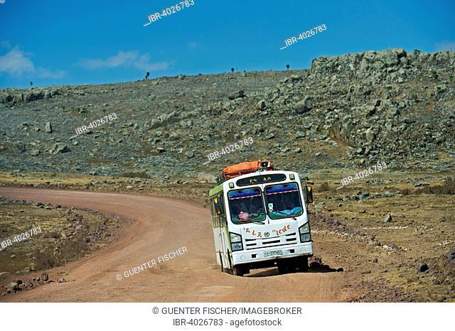 Local bus passing the Sanetti Plateau, Bale Mountains, Oromiya, Ethiopia