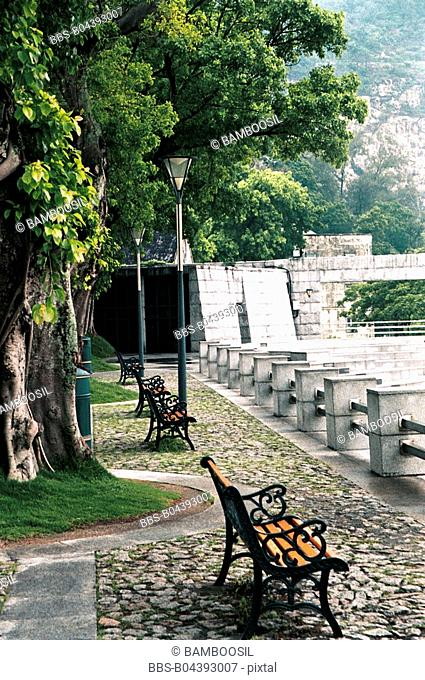 Vacant benches, Macao dragon central, Macao special administration region of People's Republic of China
