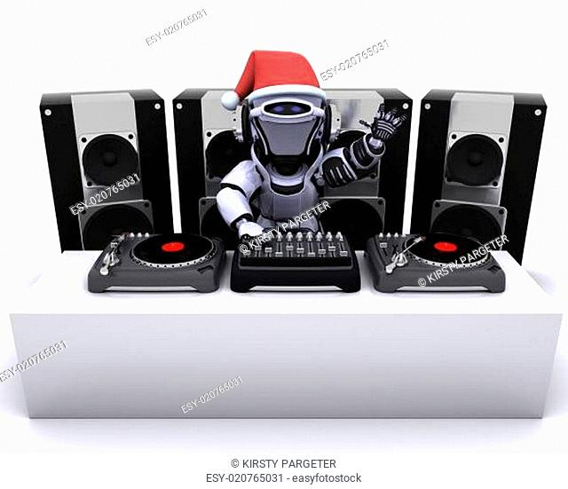 Christmas Robot DJ mixing records on turntables