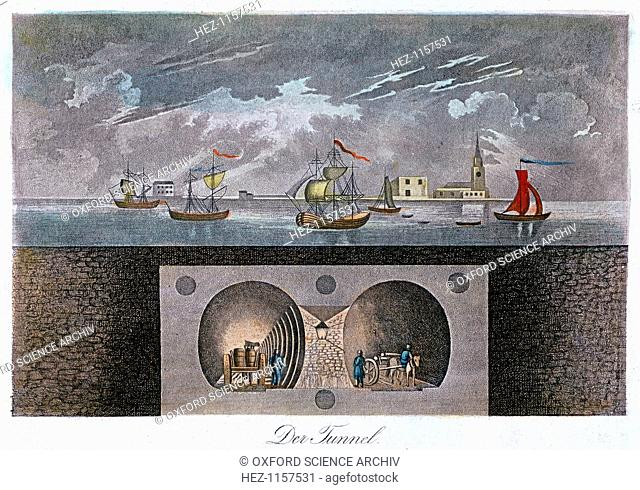 Thames Tunnel, c1830. The Thames Tunnel from Rotherhithe to Wapping was the most remarkable undertaking by the engineer and inventor Sir Marc Isambard Brunel...