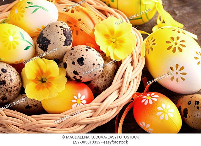 Close-up of Easter and quail eggs in basket