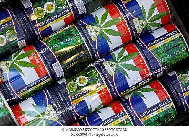 A can of Cannabis seeds at Bloemenmarkt flower markets, Amsterdam, Netherlands