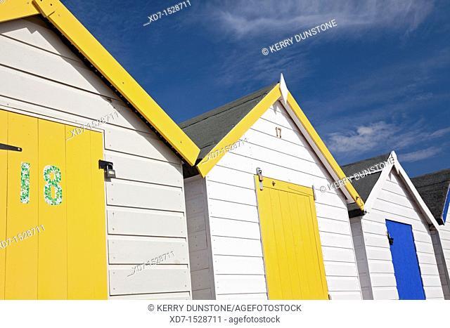 England Devon Goodrington Sands North Row of beach huts detail