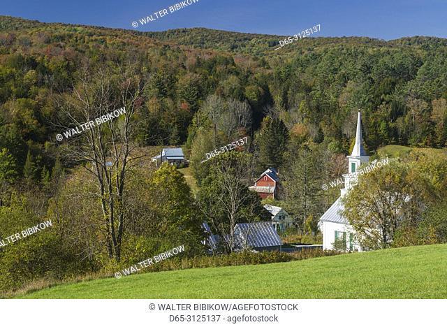 USA, New England, Vermont, Waits River, church view, autumn