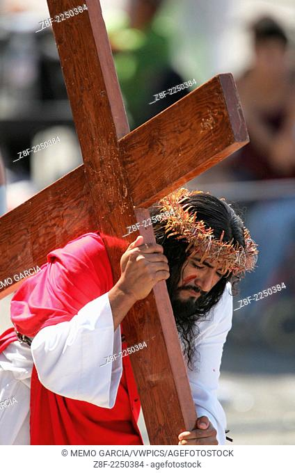 Good Friday, The Crucifixion. Catolic celebration of the Holly Week. The death of Jesus on the cross represented in San Luis Potosi, Mexico