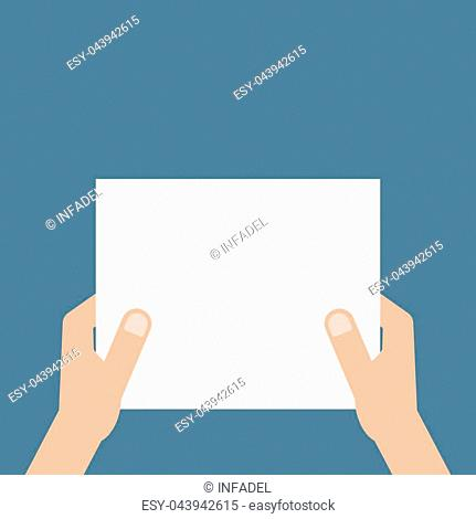 hand holding white sheet of paper. concept of notice, display, contract notify, announce, postcard, gesture, without list, tag, placard