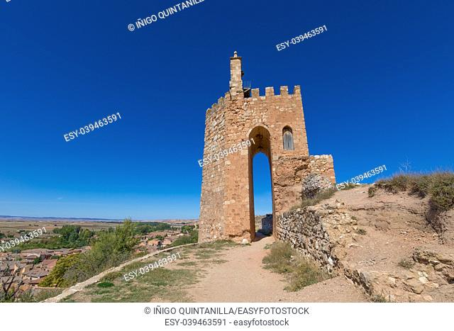 famous tower known as La Martina, landmark and public monument from Arab age, in top of old town of Ayllon village, Segovia, Spain, Europe