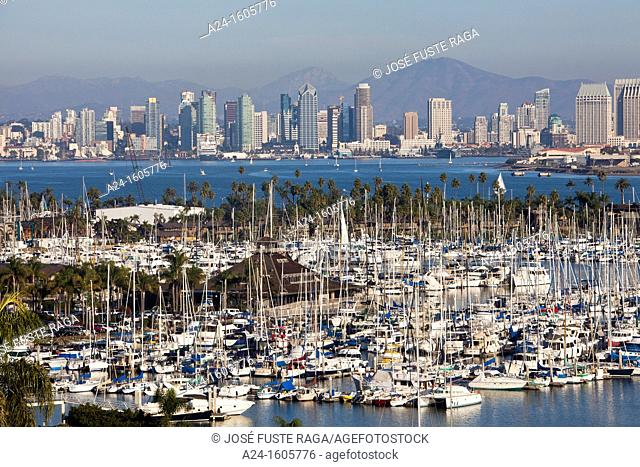 Shelter Island and downtown skyline, San Diego, California, USA