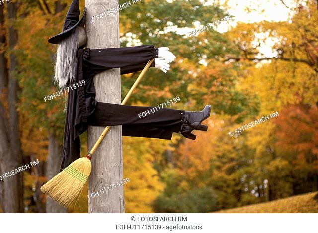 Vermont, witch, Halloween decoration of a witch with a broom smashed face first into a pole in Middletown. Witch had a bad night!