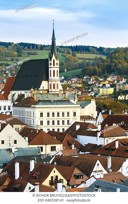 St. Vitus Church and cityscape Cesky Krumlov, Czech republic. Sunny autumn day