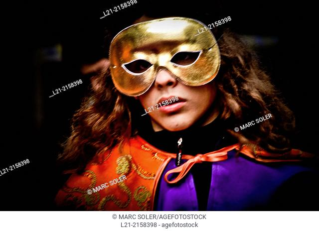 Carnival. Woman with mask. Barcelona, Catalonia, Spain