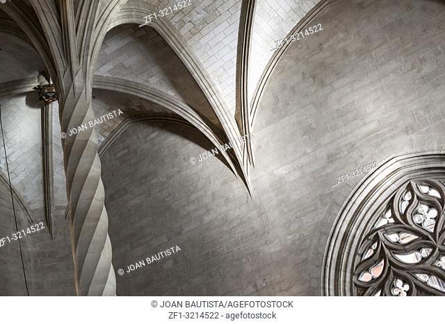 Interior building Sa Llotja, gothic architecture in Palma de Mallorca,Balearic Islands
