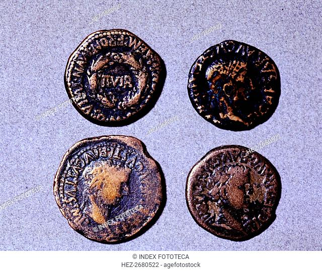 Roman coins from the first half of the first century AC (14-37) and the issuing authority was Tib?