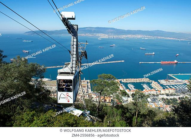 Cable car at the top of the Rock of Gibraltar, which is a British Overseas Territory, located on the southern end of the Iberian Peninsula at the entrance of...