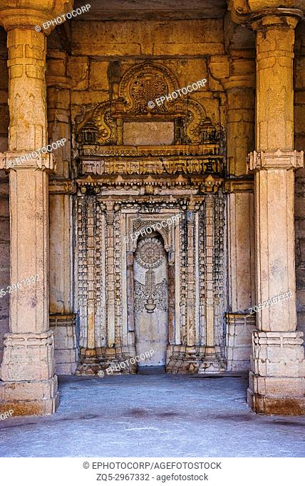 Inner view of Nagina Masjid (Mosque),built with pure white stone, UNESCO protected Champaner - Pavagadh Archaeological Park, Gujarat, India