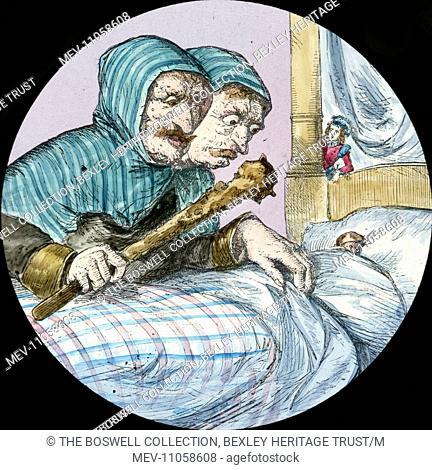 Jack Deceives the Giant - Giant with cudgel leaning over bed. Part of Box 52 Boswell collection. Nursery Rhymes
