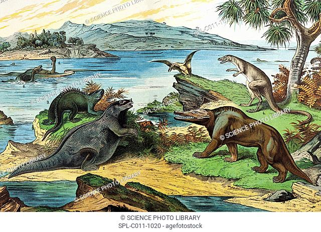 19th century lithograph of a Jurassic landscape including the dinosaurs: Megalosaurus 1, Iguanodon 2 with incorrect nose spike