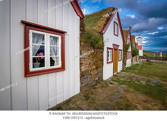 Old style turf houses by Laufaskirkja, Northern Iceland