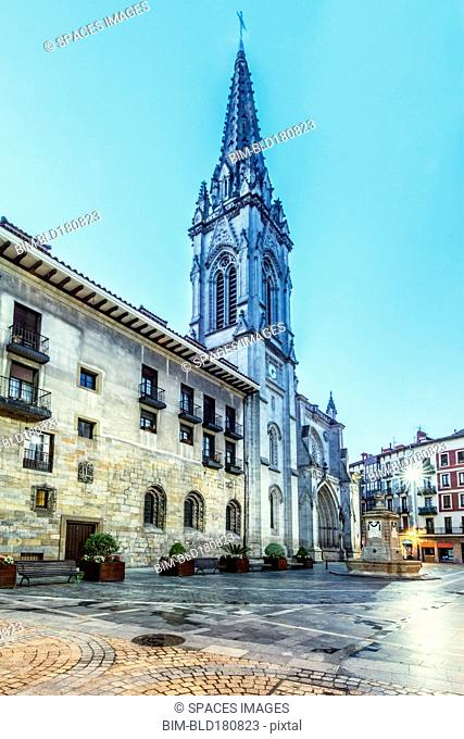 Low angle view of ornate church, Bilbao, Biscay, Spain
