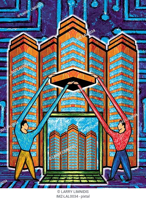 An illustration of tow figures holding building blocks in front of a laptop computer and a tall building