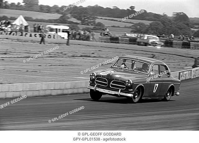 A Volvo at Beckett's Corner in the saloon car race at the British Grand Prix, Silverstone, England 1960