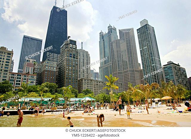Chicago's Oak St  Beach & Skyline  Gold Coast District The palm trees are shipped in each summer