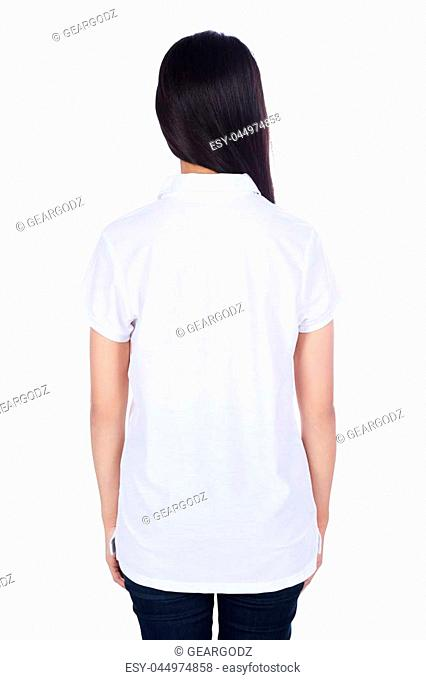 woman in white polo shirt isolated on a white background (rear view)