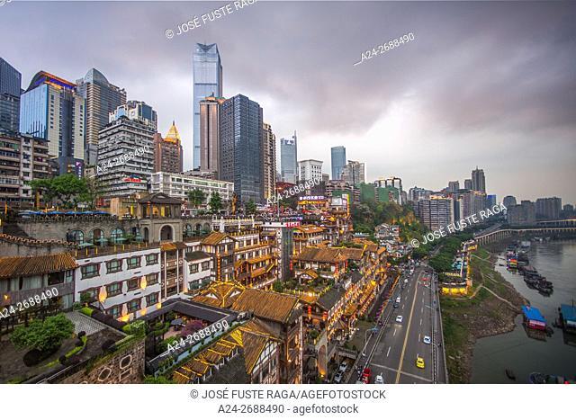 China, Chongqin City, Jiefangbei district, Hongya Dong,