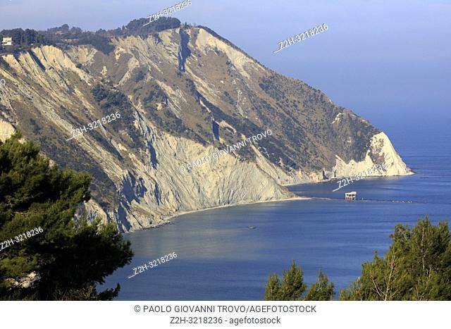 View of Mezzavalle beach, Riviera del Conero, Adriatic Sea, Ancona, Marche, Italy